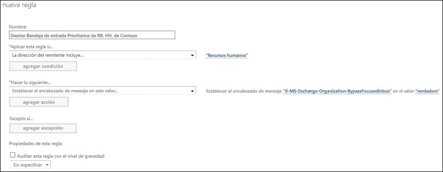 Captura de pantalla: Crear y guardar una nueva regla de la Bandeja de entrada Prioritarios