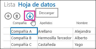 Botón de acción Descargar en Excel, en la vista Hoja de datos