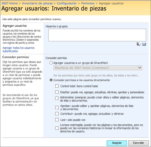 Cuadro de diálogo Agregar usuario