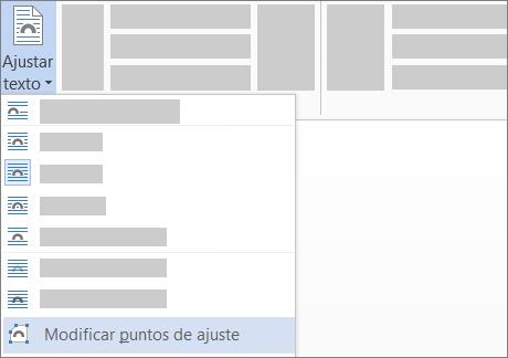 Opción Editar puntos de ajuste de la opción Ajustar texto en la cinta de opciones