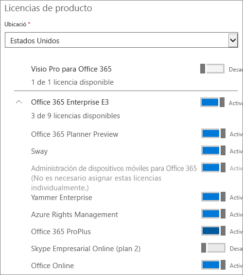 Setting license assignments for a user.
