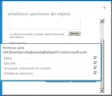 Captura de pantalla donde aparece el cuadro de diálogo Establecer permisos de objeto en SharePoint Online. Use este diálogo para establecer los permisos relativos a un tipo de contenido externo específico.