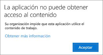 Un cuadro de diálogo que indica que la aplicación no puede obtener acceso al contenido al pegar en una aplicación no administrada.