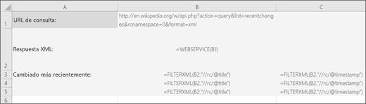 Un ejemplo de la función FILTERXML