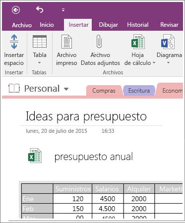 Captura de pantalla de una hoja de cálculo incrustada en OneNote 2016.