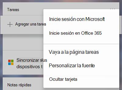 Captura de pantalla que muestra la opción para iniciar sesión con Microsoft u Office 365 en el menú más de la tarjeta más tareas