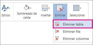 Imagen de parte del menú emergente que se abre al seleccionar el contenido de una celda de la tabla en Word Online, con la opción Eliminar tabla resaltada.