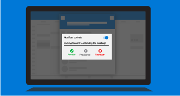 Pantalla de una tableta con la solicitud para notificar al organizador en la que se muestran las opciones de respuesta disponibles y la posibilidad de incluir un comentario