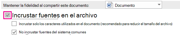 Usar las opciones de > de archivo para activar la incrustación de fuentes para el archivo