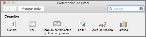 Preferencias de la barra de herramientas de la cinta de opciones de Office 2016 para Mac