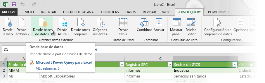Cinta de opciones de Power Query