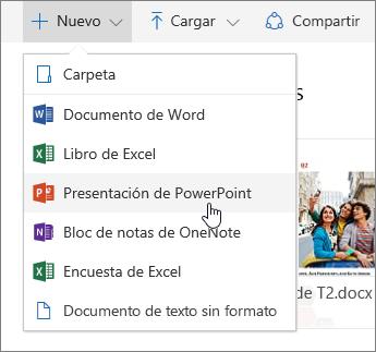 Captura de pantalla que muestra cómo crear un archivo o carpeta en OneDrive