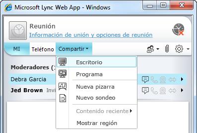Menú Compartir de Lync Online