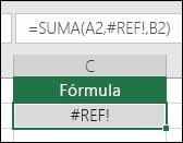 Excel muestra el error #¡REF! cuando una referencia de celda no es válida