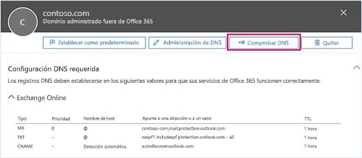 La captura de pantalla muestra la página de Configuración de DNS obligatoria y el botón Comprobar DNS resaltado.