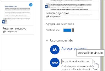 Captura de pantalla de deshabilitar un vínculo en el panel de detalles para dejar de compartir un elemento