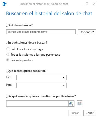 Captura de pantalla del cuadro de diálogo para examinar el historial del salón de chat