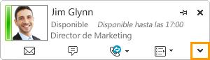 Expandir tarjeta de contacto de Lync
