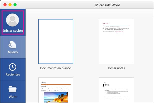 En el menú Archivo, haga clic en Nuevo a partir de plantilla y luego haga clic en Iniciar sesión para iniciar sesión en Office.