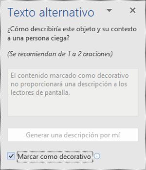 Panel Texto alternativo con la opción Marcar como decorativo seleccionada en Word para Windows.