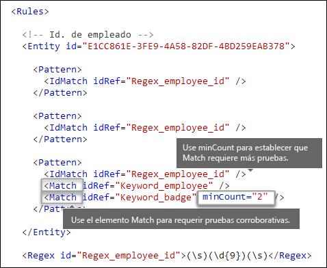 Formato XML que muestra el elemento Match con el atributo minOccurs