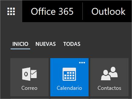 Captura de pantalla del icono de Calendario en el iniciador de aplicaciones de Office365.