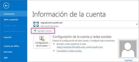 Para agregar una cuenta de Gmail en Outlook, haga clic en el botón Añadir cuenta