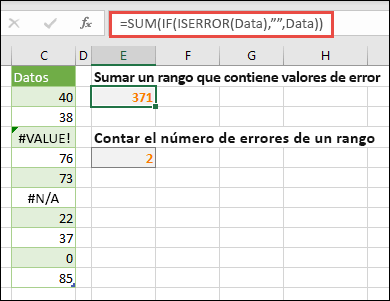 "Use matrices para resolver errores. Por ejemplo, = suma (si (esERROR (datos), """", datos) sumarán el rango denominado datos aunque incluya errores, como #VALUE. o #NA!."