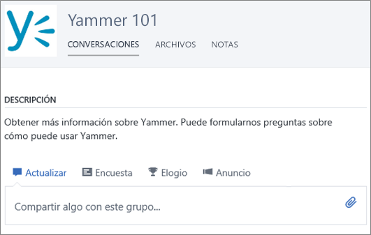 Un grupo de iniciación a Yammer de ejemplo