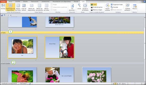 Usar secciones para separar diferentes tipos de contenido