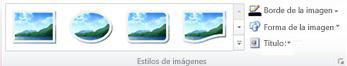 Grupo Estilos de imágenes de la ficha Herramientas de imagen en Publisher 2010