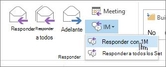 Responder a grupo de abrir la lista desplegable de mensajería instantánea y responder con mensaje instantáneo resaltado