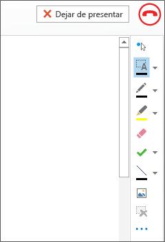 Captura de pantalla de la pizarra en una reunión
