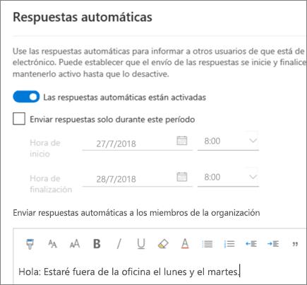 Crear una respuesta de fuera de la oficina en Outlook en la Web