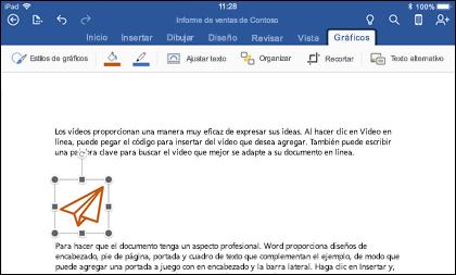 Word para iOS que muestra la ficha de edición de gráficos