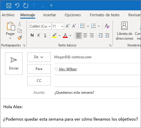 Crear y enviar un correo electrónico