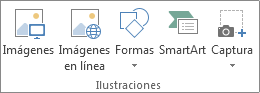 Grupo Ilustraciones de la pestaña Insertar en Excel