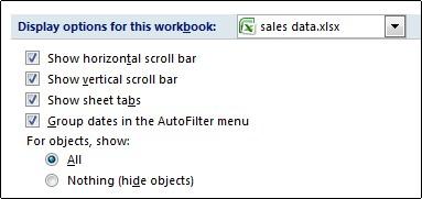 Casilla Mostrar fichas de hojas en el cuadro de diálogo Opciones de Excel