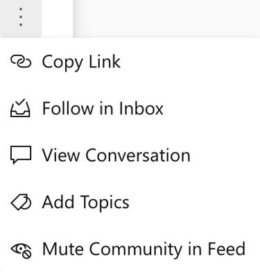 Captura de pantalla que muestra el silenciar el audio de una comunidad desde una nueva conversación de Yammer