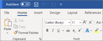 Barra de herramientas de acceso rápido encima de la cinta de word para Windows.