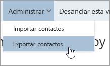 Captura de pantalla de la opción Exportar contactos en el menú Administrar.