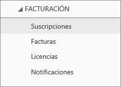 Captura de pantalla del menú Facturación en el Centro de administración de Office 365, con la opción Suscripciones seleccionada.