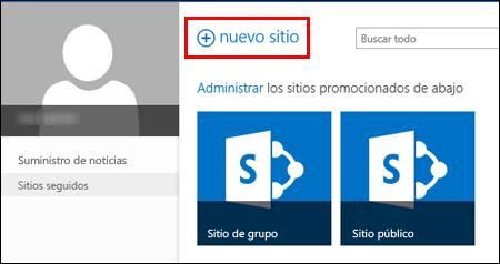 Página Nistes en SharePoint Online, que muestra el botón Sitio nuevo