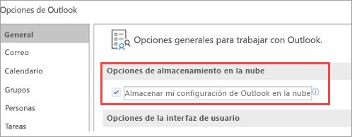Opciones de configuración de Outlook de la presentación