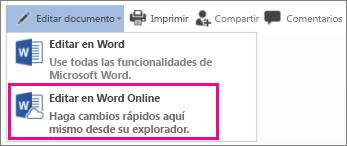 Editar en Word Online