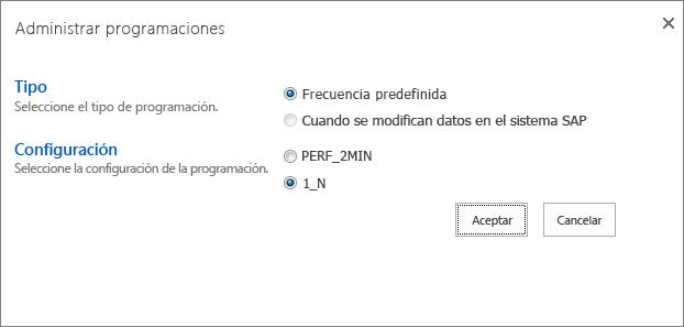Administrar la programación de un informe