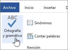 Botón Ortografía y gramática en la cinta de opciones de Revisión