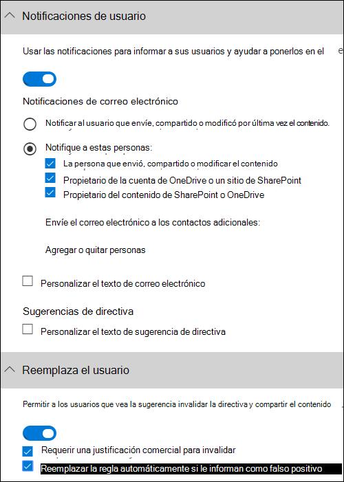 Crear una directiva DLP desde una plantilla - Office 365