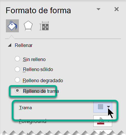 Opciones de relleno de patrones para las formas de Visio.