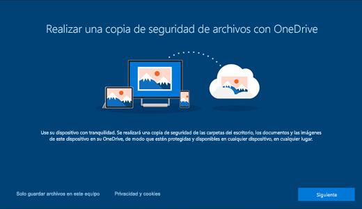 Captura de pantalla de la página de OneDrive que se muestra al usar por primera vez Windows 10